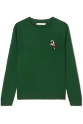 Chinti And Parker Embroidered Cashmere Sweater Green