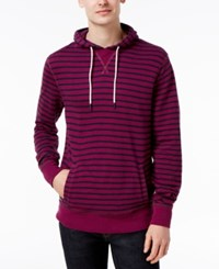 Tommy Hilfiger Men's Boris Stripe Cotton Hoodie Magenta Purple