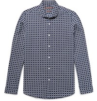 Michael Kors Slim Fit Printed Linen And Cotton Blend Shirt Navy