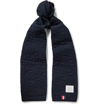 Thom Browne Hector Quilted Cotton Pique Scarf Navy