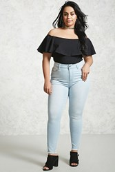 Forever 21 Plus Size Frayed High Rise Jeans Light Denim