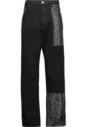 Mcq By Alexander Mcqueen High Rise Faux Leather Paneled Skinny Jeans Black