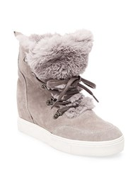 Steve Madden Lift Round Toe Faux Fur Ankle Boots Grey