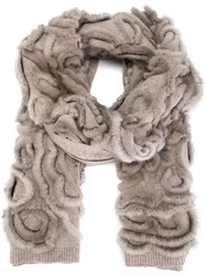 Liska Mink Fur And Cashmere Scarf Nude And Neutrals
