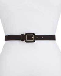 Neiman Marcus Covered Buckle Velvet Waist Belt Black
