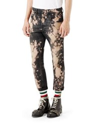 Gucci Bleached Denim Tapered Pants Black White