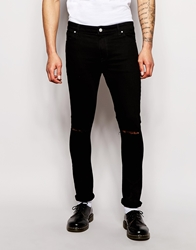 Asos Super Skinny Jeans With Knee Rips Black