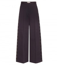 Stella Mccartney Maude Lace Trimmed Wide Leg Cotton Trousers Blue