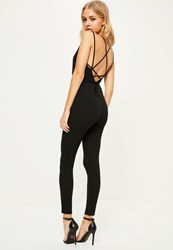 Missguided Black Crepe Plunge Wrap Around Strappy Jumpsuit