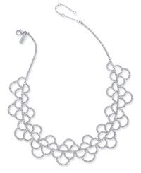 Inc International Concepts Silver Tone Crystal Scallop Statement Necklace Created For Macy's