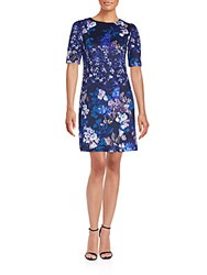 Betsey Johnson Floral Printed Dress Blue Multi
