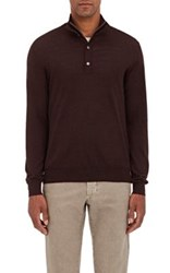Barneys New York Men's Fine Gauge Zip Front Sweater Burgundy