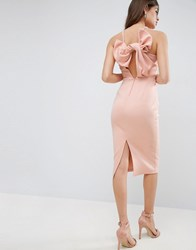 Asos Bow Back Scuba Midi Pencil Dress Peach Pink
