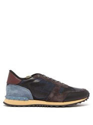 Valentino Rockrunner Suede And Leather Trainers Navy Multi