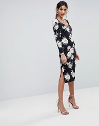 Asos Midi Pencil Dress With Sweetheart Neck In Floral Print Floral Print Multi