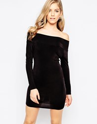 Love Off Shoulder Bodycon Dress With Long Sleeves Black