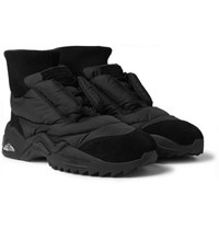 Maison Martin Margiela Puffer Future Quilted Shell And Suede Sneakers Black
