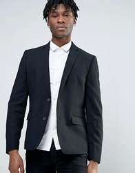 Minimum Waffle Wool Blend Slim Fit Suit Jacket Black