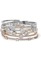 Cz By Kenneth Jay Lane Set Of Six Gold And Silver Tone Crystal Bangles Multicolor