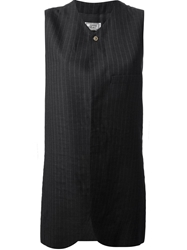 Gianni Versace Vintage Pinstripe Sleeveless Jacket Black