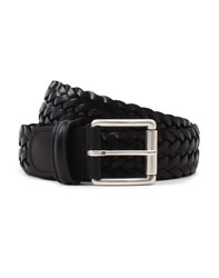 Andersons Black Leather Woven Belt Black