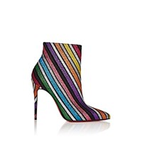 Christian Louboutin So Kate Glitter Striped Ankle Boots Multi
