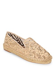 Vince Camuto Caldwell Cork And Leather Espadrille Smoking Slippers Beige