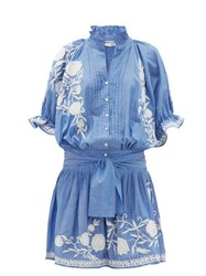 Juliet Dunn Floral Embroidered Cotton Chambray Dress Blue White