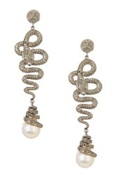 Gold Plated Sterling Silver 13Mm Genuine Baroque Pearl Snake Champagne Diamond Earrings White