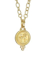 Temple St. Clair Diamond And 18K Yellow Gold Horse Coin Pendant