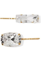 Jennifer Behr Set Of Two Gold Tone Crystal Hair Slides One Size
