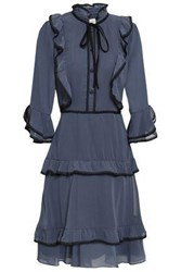 Mikael Aghal Woman Lace Trimmed Ruffled Georgette Dress Storm Blue