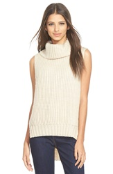 Astr High Low Turtleneck Sweater Ivory