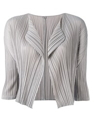 Issey Miyake Pleats Please By Cropped Blazer Women Polyester 5 Grey