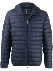 Save The Duck Quilted Zip Front Coat Blue