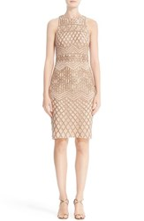 Rachel Gilbert Women's Beaded High Neck Sheath Dress