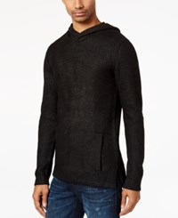 Guess Men's Sweater Knit Hoodie Jet Black