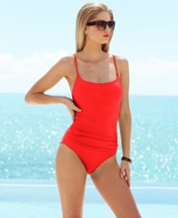 Anne Cole Classic Ruched One Piece Swimsuit Women's Swimsuit Lipstick Red