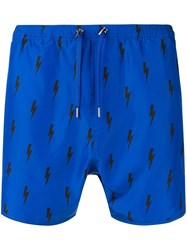 Neil Barrett Lightning Bolt Swimming Trunks Blue