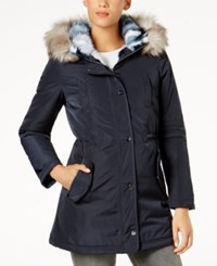 Laundry By Shelli Segal Faux Fur Lined Coat Navy