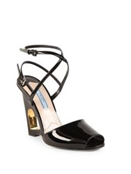 Prada Patent Leather Cutout Heart Wedge Sandals