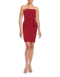 Aidan Mattox Strapless Ruffled Sheath Dress Wine