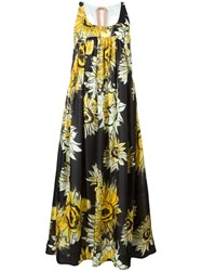 No21 Flower Print Maxi Dress Black