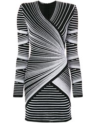 Balmain Structured Shoulder Stitched Stripe Mini Dress Black