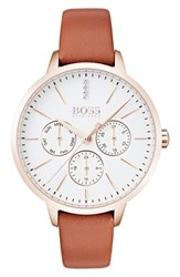Boss Symphony Leather Strap Watch 38Mm Brown White Gold