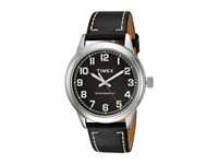 Timex New England Leather Strap Black Silver Tone Watches