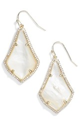 Kendra Scott Women's Alex Pave Drop Earrings Ivory Mop Gold