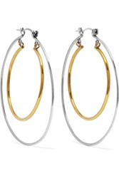 Alexander Mcqueen Gold And Silver Tone Hoop Earrings One Size