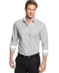 Alfani Men's Big And Tall Classic Fit Long Sleeve Box Print Shirt Only At Macy's Bright White