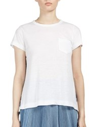 Sacai Pleated Tribal Lace Back Tee White